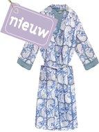 kimono quilted katoen -blue blockprint on white/ paisley print