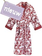 kimono quilted katoen -deep red blockprint on white/ paisley print