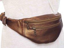 tas heuptas moneybelt leer -bronze metallic